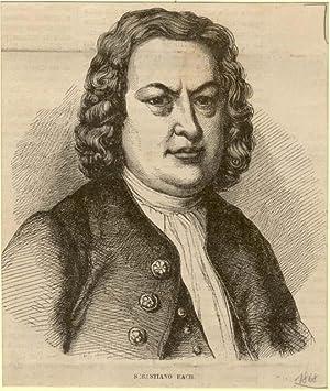 Incisione originale raffigurante il musicista Johann Sebastian Bach.