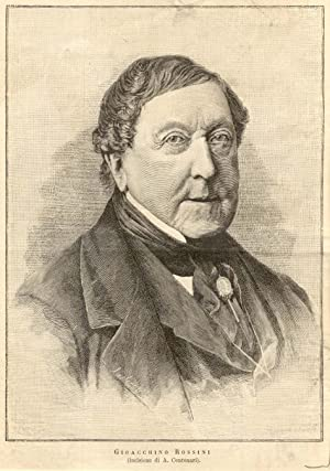 Incisione originale raffigurante il musicista Gioacchino Rossini.