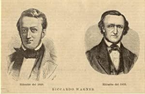 Incisione originale raffigurante due ritratti del musicista Richard Wagner.