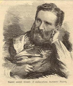 Incisione originale raffigurante il violoncellista Alfredo Piatti (Bergamo, 1822-1901). 1880 circa.