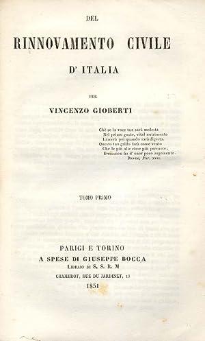 DEL RINNOVAMENTO CIVILE D'ITALIA.: GIOBERTI Vincenzo.