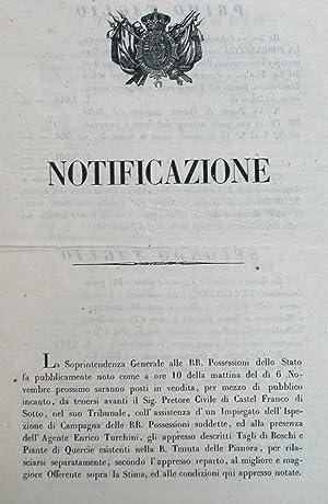 Notificazione del 13 ottobre 1856 della Soprintendenza Generale delle RR.Possessioni del Granducato...