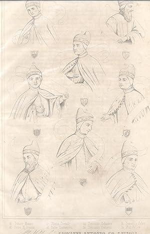 Incisione (n°4) di Antonio Nani (Alano, 1803-1870) raffigurante i ritratti di otto Dogi ...