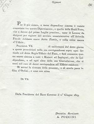 Documento a stampa, datato 1 giugno 1819, emesso dal Governo del Granducato di Toscana, inerente ...