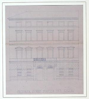 Disegno ottocentesco raffigurante la facciata di un palazzo in Piazza del Giglio a Lucca (oggi sede...