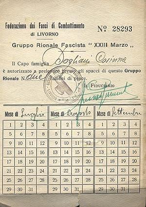"""Tessera N°28293 del Gruppo Rionale Fascista """"XXIII Marzo"""" di Livorno con l'..."""