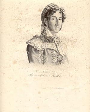Litografia originale raffigurante il cantante lirico Felice Pellegrini (Torino, 1774-1832) nel ...