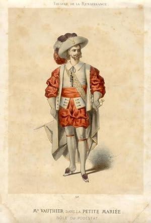 Litografia raffigurante il cantante lirico Eugene Vauthier (Cassis, 1843-1910) nel costume di scena...