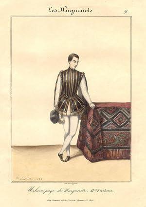 Litografia raffigurante la cantante lirica Maria Flécheux nel costume di scena di Urbain, ...