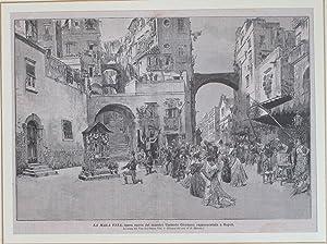 """Xilografia raffigurante la scena del Voto del tintore Vito nell'opera """"La mala vita""""..."""
