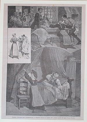 """Xilografia raffigurante alcune scene del dramma in quattro atti e cinque quadri """"Elena"""" ..."""