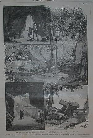 """Xilografia raffigurante alcune scene di """"Sigfrido"""", dramma lirico di Richard Wagner, ..."""