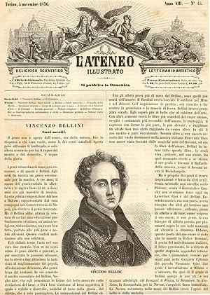 Incisione originale raffigurante il musicista Vincenzo Bellini.