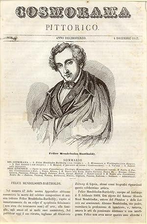 Incisione originale raffigurante il musicista Felix Mendelssohn-Bartholdy.