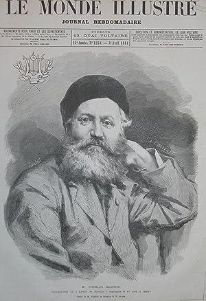 Incisione originale raffigurante il musicista Charles Gounod.