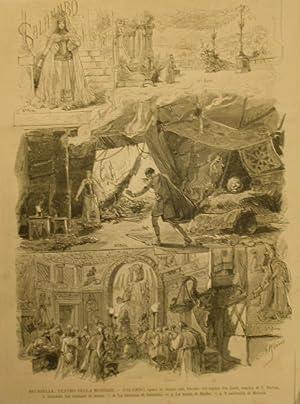 """Incisione originale raffigurante alcune scene dell'opera """"Salambò"""" di E.Reyer..."""