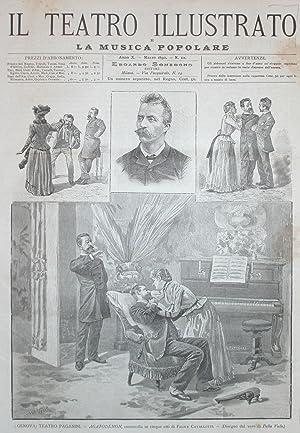 """Incisione originale raffigurante alcune scene della commedia """"Agatodemon"""" di Felice ..."""