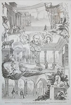 """Incisione originale raffigurante alcune scene dell'opera """"Cleopatra"""" di Lauro Rossi ..."""