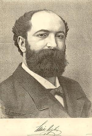 Fotolitografia originale raffigurante il musicista Emilio Usiglio (Parma, 1841-1910). 1890 circa.