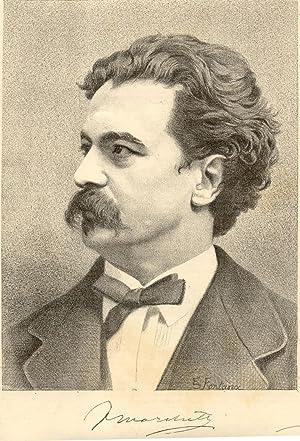 Fotolitografia originale raffigurante il musicista Franz Marinelli. 1890 circa.