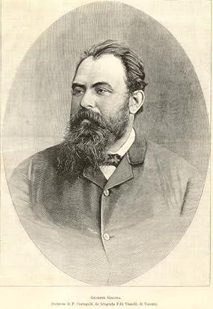 Incisione originale raffigurante il letterato e librettista Giuseppe Giacosa.