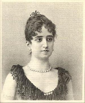 Litografia originale raffigurante la cantante lirica Salud Othon da Rosa.