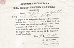 """Ricevuta di pagamento della quota annuale 1863 della """"Accademia proprietaria del Regio Teatro ..."""