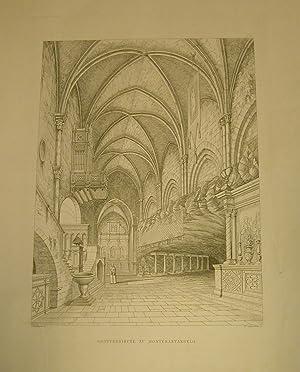 GROTTENKIRCHE ZU MONTESANTANGELO. Incisione originale ottocentesca. 1890 circa.