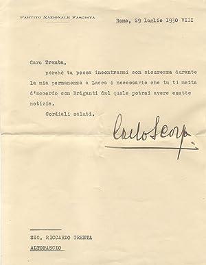 Lettera autografa firmata del federale fascista Carlo Scorza, inviata da Roma in data 29 luglio ...