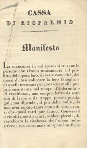 MANIFESTO DELLA CASSA DI RISPARMIO DI LUCCA.