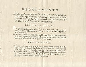 REGOLAMENTO DEL BRUNO DA PRENDERSI DALLA NOBILTA' LA MATTINA DEL DI' 31 DICEMBRE 1797 PER...