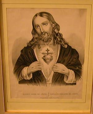 SACRE' COEUR DE JESUS. Litografia originale ottocentesca. circa metà del XIX secolo.