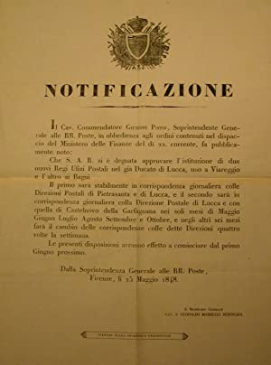 Editto originale della Soprintendenza Generale delle RR. Poste del Granducato di Toscana in cui si ...