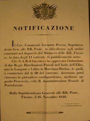 NOTIFICAZIONE UFFICIALE DELLA SOPRINTENDENZA GENERALE ALLE RR. POSTE IN MERITO ALL'ISTITUZIONE...