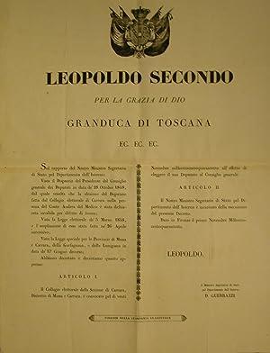 Editto originale promulgato da Leopoldo II di Lorena, Granduca di Toscana riguardo al riordinamento...
