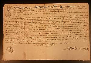 Documento manoscritto di nomina al titolo della SS.Annunziata nella Collegiata di Santa Maria a ...