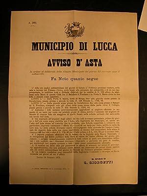 """AVVISO D'ASTA. Notificazione ufficiale in merito alla """"Pubblica Asta a schede segrete per..."""