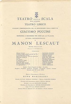 """Locandina originale per una esecuzione di """"Manon Lescaut"""" di Giacomo Puccini al Teatro ..."""