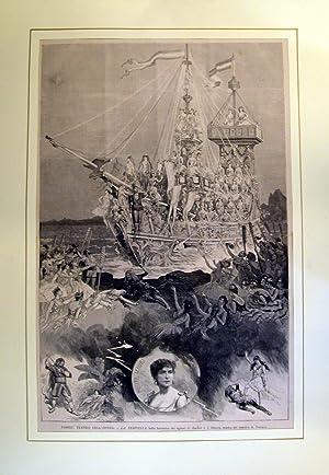 """Xilografia raffigurante alcune scene de """"La Tempesta"""", ballo fantastico di G.Barbier e ..."""
