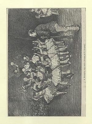 """Incisione originale raffigurante Luigi Manzotti alle prove del suo poema coreografico """"Amor&..."""