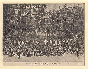 """Incisione originale raffigurante il """"ballabile delle scimmie"""" nel quadro secondo del ..."""