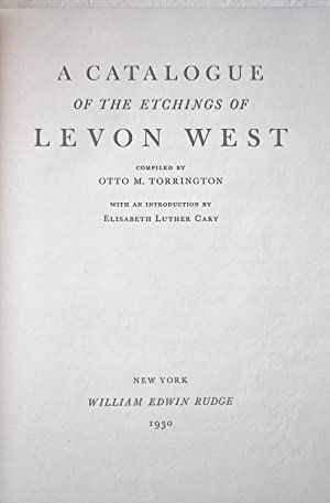A Catalogue of the Etchings of Levon West: Torrington, Otto M. Editor