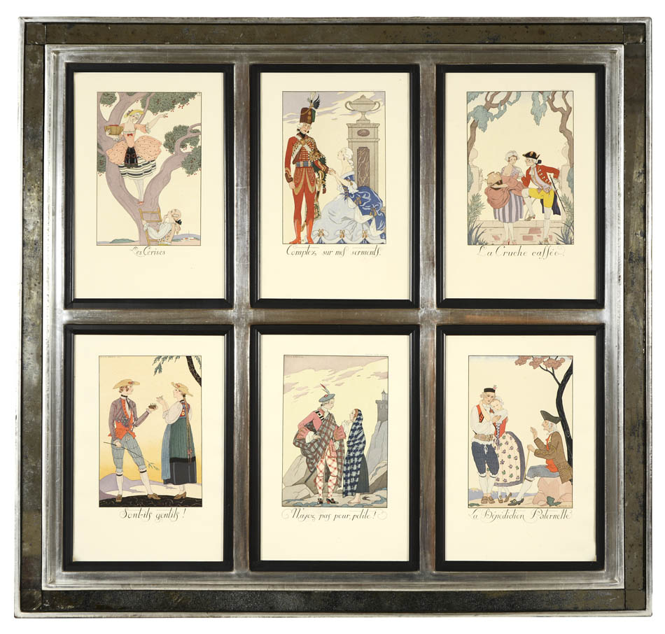 Falbalas & Fanfreluches: A Set of Six Pochoir Fashion Plates. BARBIER, Georges. Six pochoir plates by Barbier, framed together and glazed, overall size: 64.2 x 61.3 cm. An exquisite series displaying fashion in magnificent and ima
