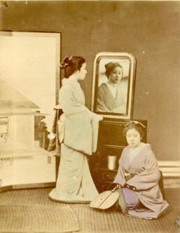 Reflection in the Mirror].: KUSAKABE, Kimbei (attributed