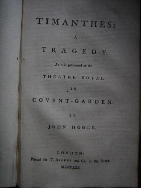 Timanthes: A Tragedy HOOLE John
