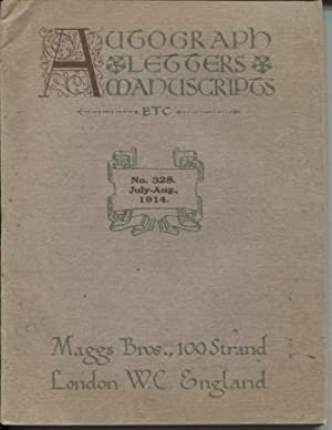 Maggs Bro. Catalogue: Autograph, Letters, Manuscripts Etc., No. 328. July-Aug., 1914