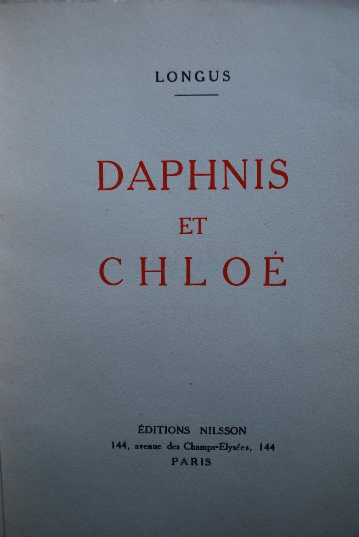 Daphnis et Chloé Longus Near Fine Softcover Dos et plats de couverture muets.Aquarelles J.P. Joumard.