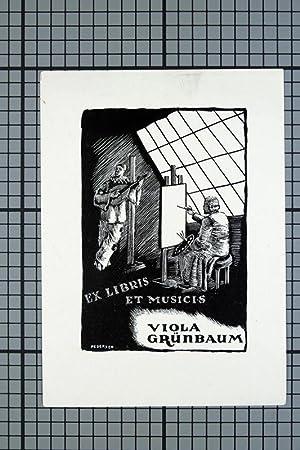 """Klischee """"Ex Libris et Musicis Viola Grünbaum"""": Pedersen, Paul (1913,"""