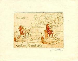 "O-Radierung, rötlich, ""Ex-Libris Constance Bosschaerts 1896"", 7,5: Titz, Louis (1859-1932,"
