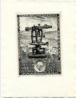 """O-Radierung, """"Ex Libris Kurt W.I. Albrecht in: Bastanier, Hanns (1885-1966,"""